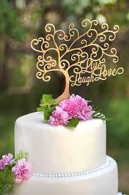 gold wedding cake toppers live laugh tree shape mirror gold cake topper wedding cake