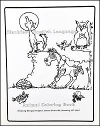 blackfeet english language animal coloring book blackfeet