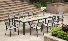 furniture rectangular narrow outdoor dining table with armchairs