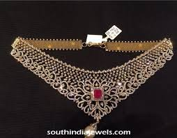 light diamond necklace images Light weight diamond choker necklace south india jewels jpg