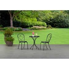 Patio Table And Chairs For Small Spaces Mainstays 3 Small Space Scroll Outdoor Bistro Set Seats 2
