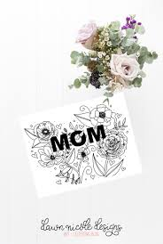 floral typography free mother u0027s day coloring page card dawn