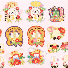 new year sticker japanese paper sticker sack happy new year lucky cat sticker