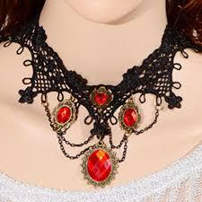 eco friendly girls black lace fabric choker necklace with diamonds