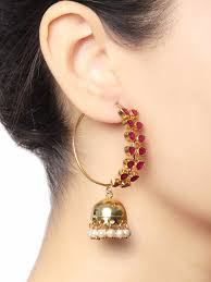 jhumka earrings buy gold plated pink leaf jhumka earrings by baroque studio