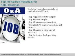 Doorman Job Description Resume by Hotel Doorman Application Letter