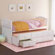 White Bedroom Furniture For Kids Bedroom Simply White Trundle Bed Plus Grey Mattress For Bedroom