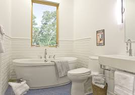 Bathrooms With Freestanding Tubs Tile Around Freestanding Tub Bathroom Transitional With Penny Tile