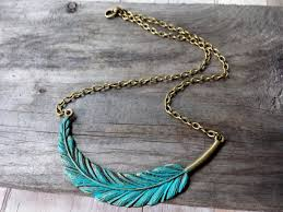 necklace boho images Faux patina metal feather necklace boho chic feather necklace r jpg