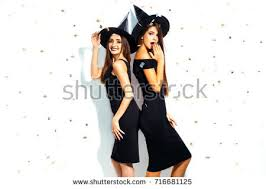 Woman Black Halloween Costume Happy Young Women Black Witch Stock Photo 480074791 Shutterstock