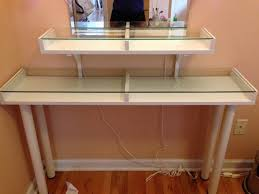 Narrow Vanity Table Excellent Cool Glass Top Vanity Table With Artsy Diy Narrow Makeup