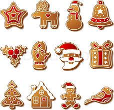 gingerbread christmas cookies set icons symbols deesert stock