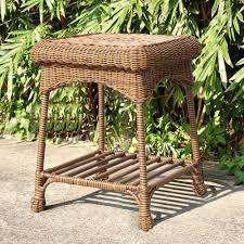 Brown Wicker Patio Furniture Amazon Com Jeco Wicker Patio End Table In Honey Patio Side