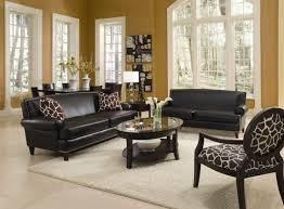 Living Room With Leather Furniture Sets And Decorative Accent - Leather accent chairs for living room