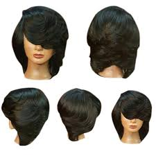 featheres sides bob hairstyle short side bang straight flip feathered bob synthetic wig in black