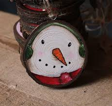 country snowman with earmuffs painted wood slice ornament by