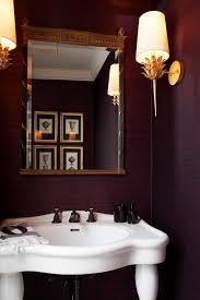 Powder Room With Pedestal Sink Purple Powder Room With Parisian Pedestal Sink Transitional