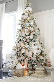 pretty decorated flocked trees decor ideas