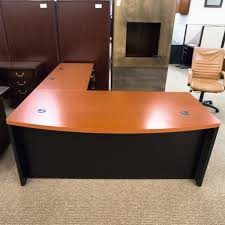 Office Desk Used Used Hon Right L Shaped Executive Office Desk Cherry Black