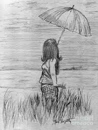 walking in the rain drawing by joe hagarty