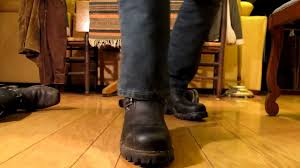 motorcycle boots harness wesco engineer boots and barefeet beat up harness boots youtube
