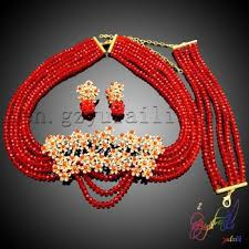 red crystal bead necklace images Fashion red crystal bead necklace sets nigerian beads jewelry set jpg