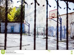abandoned basketball court backyard stock photo image 73869651