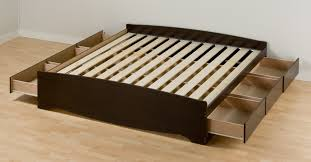 bedroom black wooden king platform bed frame with six storage