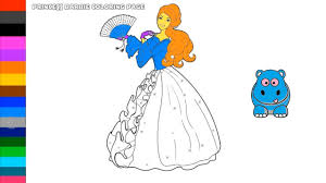 princess barbie coloring page art of colour for kids youtube