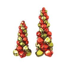 tabletop christmas tree set of 2 decorative green metal jingle bell tabletop