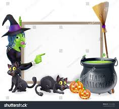 halloween sign background cartoon witch happy stock vector