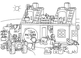 farm coloring page for kids printable free lego duplo