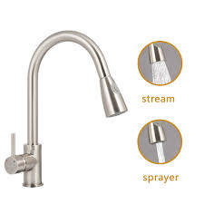 100 pull down kitchen faucet brushed nickel purelux tulip