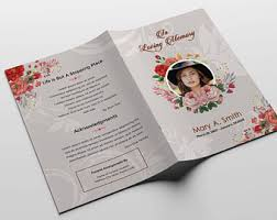 Funeral Program Printing Services Floral Funeral Program Template Woman Mother Funeral