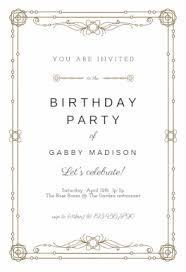 classic border free printable birthday invitation template