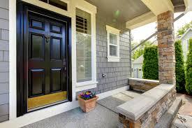 decorating cheerful gray house exterior paint idea black door