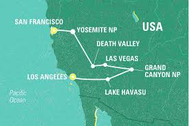 Map San Francisco To Yosemite National Park by La To San Francisco Highlights United States Tours Geckos