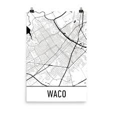 Texas Map Picture Waco Tx Street Map Poster Texas And Rivers