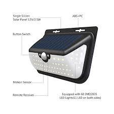 solar powered sensor security light 68 led solar lights wireless waterproof outdoor solar powered