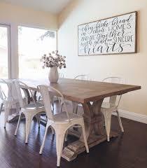 white farmhouse kitchen table farm table with metal chairs erikaemeren