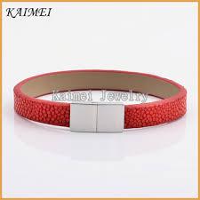luxury leather bracelet images Kaimei jewelry high quality luxury design 100 genuine stingray jpg