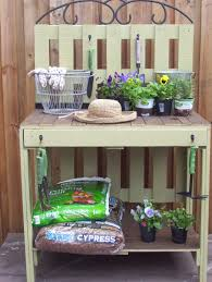 Outdoor Potters Bench Rustic Rediscovered Pallet Potting Table My First Build