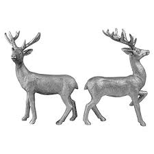 set of 2 free standing 20cm silver polyresin stag