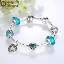 bracelet silver bangle images Bamoer romantic vintage bracelets silver color heart pendant charm jpg