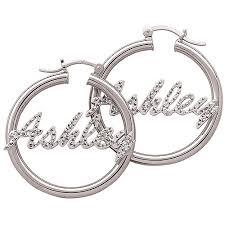 name plated earrings personalized sterling silver diamond cut name 2 tone hoop earrings