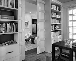 Cool Home Office Decor Charming Home Office Design With Glossy Wooden Pocket Doors And