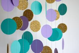 Blue And Gold Baby Shower Decorations by Paper Garland In Lavender Teal And Gold Mermaid Party
