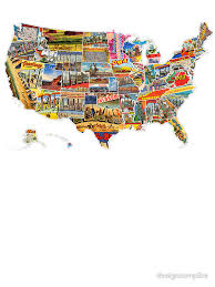 map usa all states postcards of the united states vintage usa all 50 states map