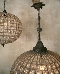 Antique Chandelier Globes Antique Reproduction Beaded Globe Chandelier Hand Strung In