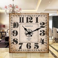 Grande Horloge Murale Carrée En Bois Vintage Achat Bois Horloge Murale Vintage Quartz Grand Mur Montre Chiffres Romains